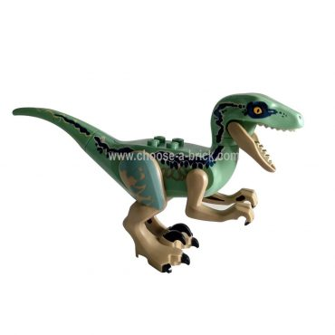 Dark Tan Dino Raptor with Black Claws and Dark Blue Stripes on Sides - Complete Assembly Blue 75928, 75930 - LEGO Minifigure Jurassic World