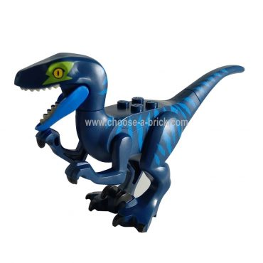 Dark Blue Raptor - Velociraptor with Lime Eye Patch - LEGO Minifigure Jurassic World